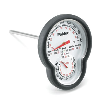 Dual Dial Thermometer for checking oven and meat temperature together